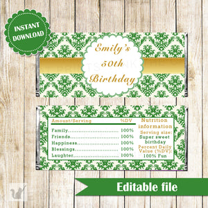 Damask Candy Bar Label Adult Birthday Party Wrapper Emerald Green Gold