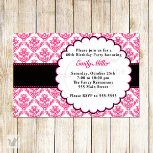 hot pink black damask adult birthday invitation