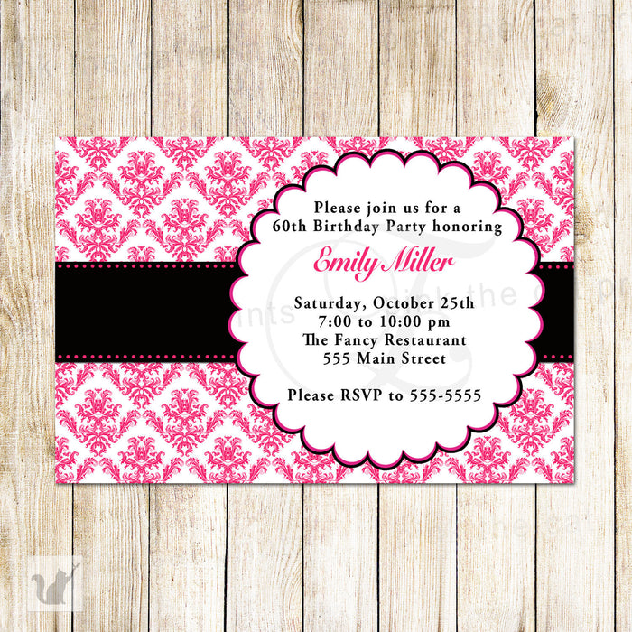 Damask Invitation Hot Pink Black Adult Birthday Party