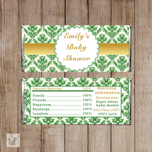 Damask Candy Bar Label Baby Girl Shower Wrapper Emerald Green Gold