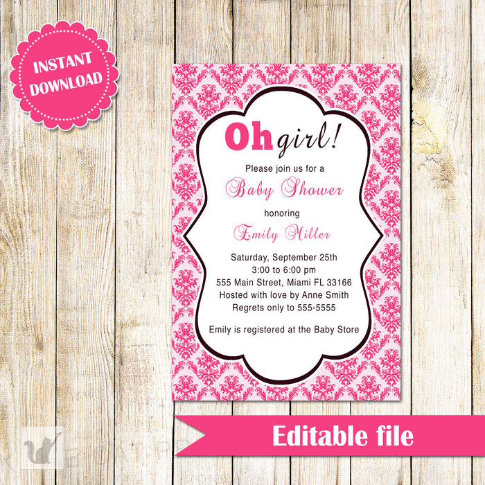 Oh Girl Baby Shower Invitation Hot Pink