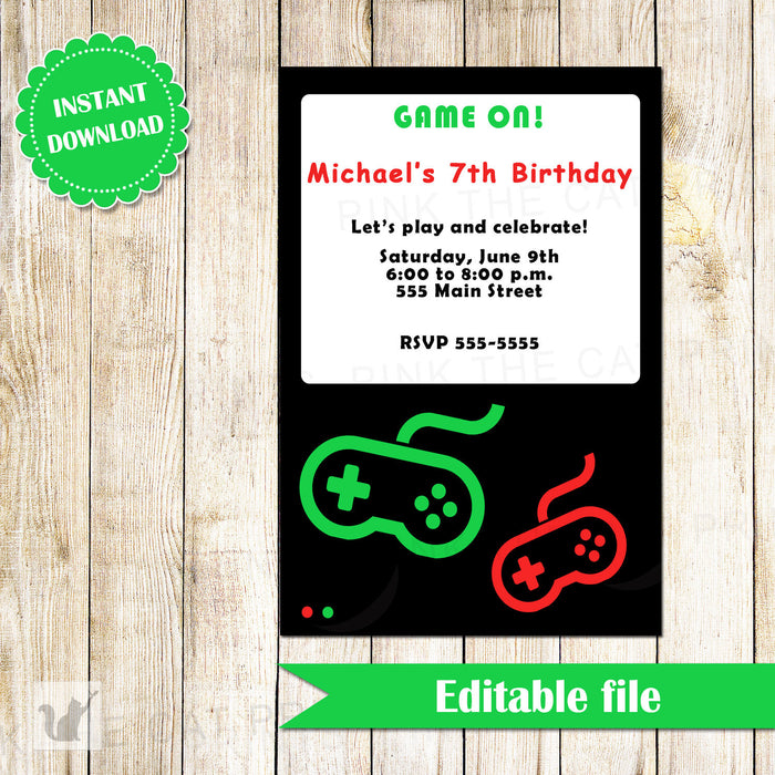 Videogame Invitation Kids Birthday Party INSTANT DOWNLOAD