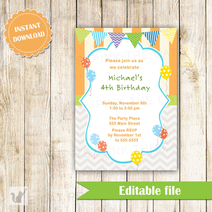 Balloon Invitation Kids Birthday Party
