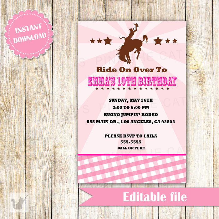 Cowgirl Invitation Birthday Party Pink Brown Rodeo INSTANT DOWNLOAD