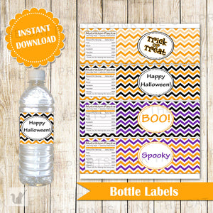 kids halloween party bottle labels