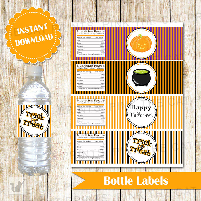 Halloween Water Bottle Label Kids Party Wrappers