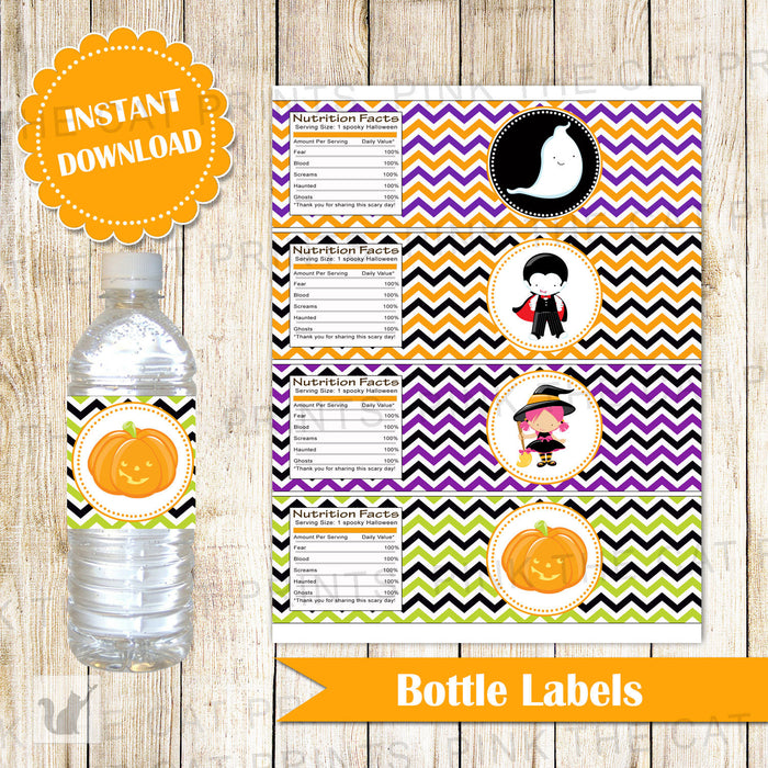 Halloween Bottle Label Kids Party