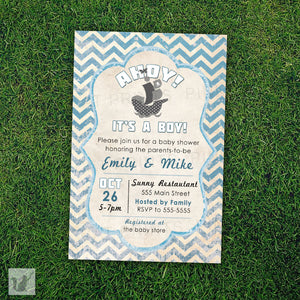 rustic nautical baby shower invitation