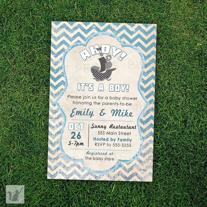 Nautical Invitation Pirate Baby Boy Shower Rustic