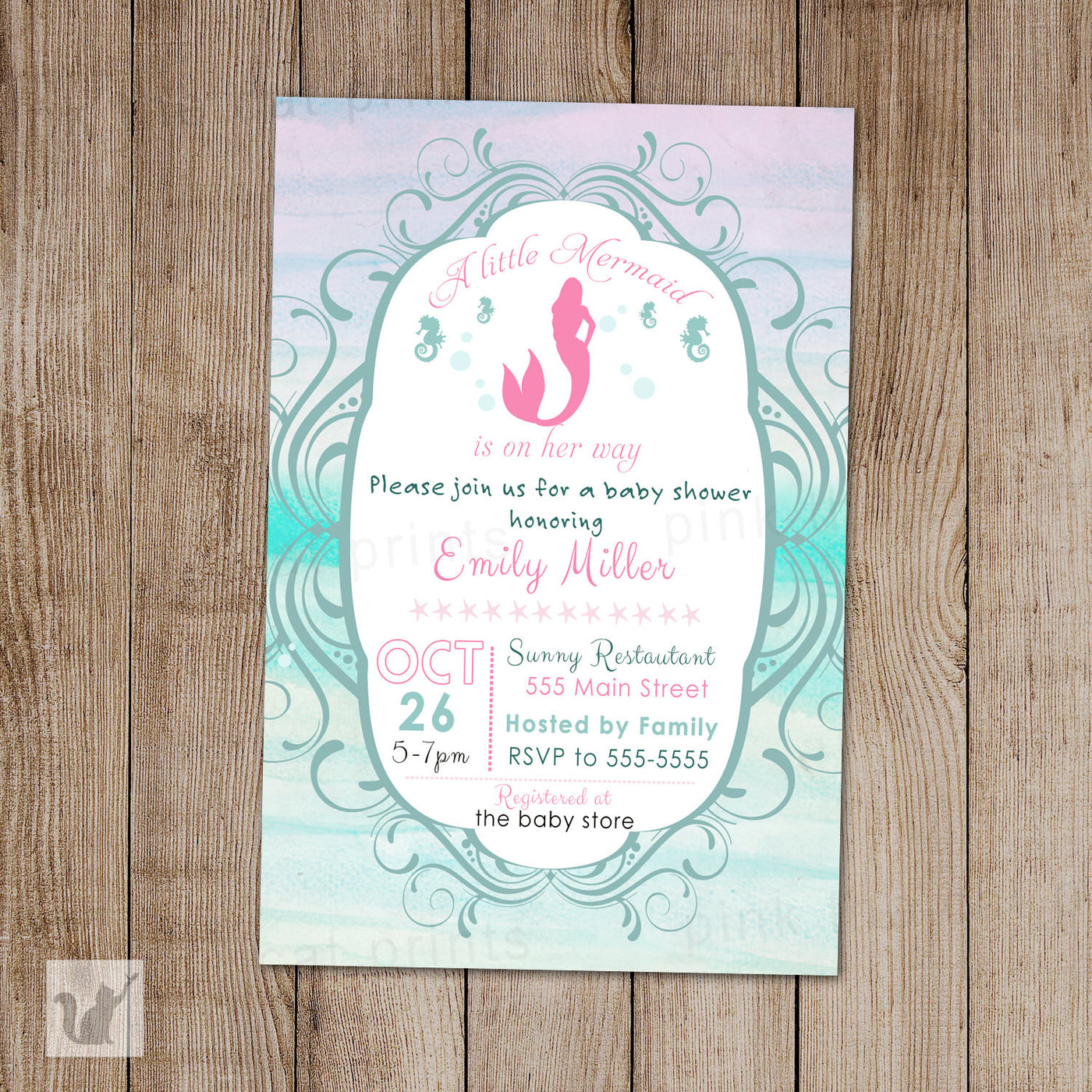 Little Mermaid Invitation Baby Girl Shower Watercolor Pink The Cat