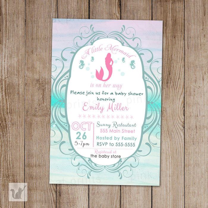 Little Mermaid Invitation Baby Girl Shower Watercolor