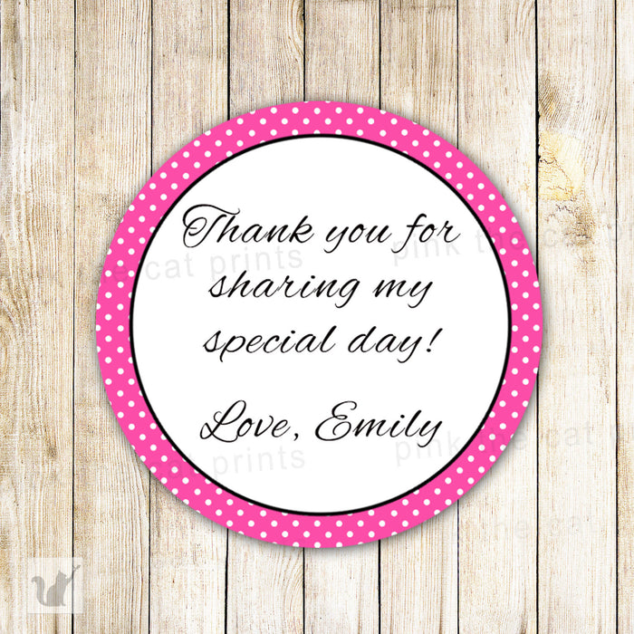 Hot Pink Label Polka Favor Tag Baby Girl Shower Birthday Sticker
