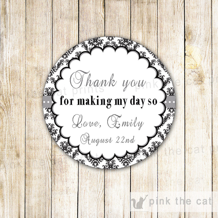 Black White Damask Favor Label Tag Sticker Birthday Bridal Shower