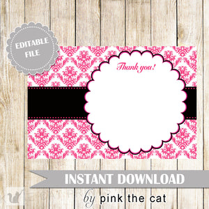 Damask Thank You Card Hot Pink Black Birthday Bridal Shower