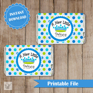 New Little Prince Mini Candy Bar Wrapper Baby Boy Shower Blue Green