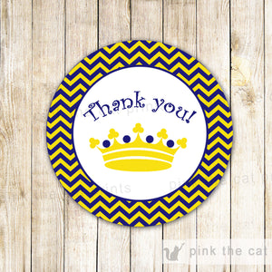 Prince Favor Label Navy Blue Yellow Chevron Boy Birthday Party Baby Shower - instant download