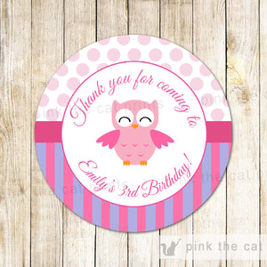 Owl Favor Label Purple Pink Purple Girl Birthday Baby Shower Sticker Tag