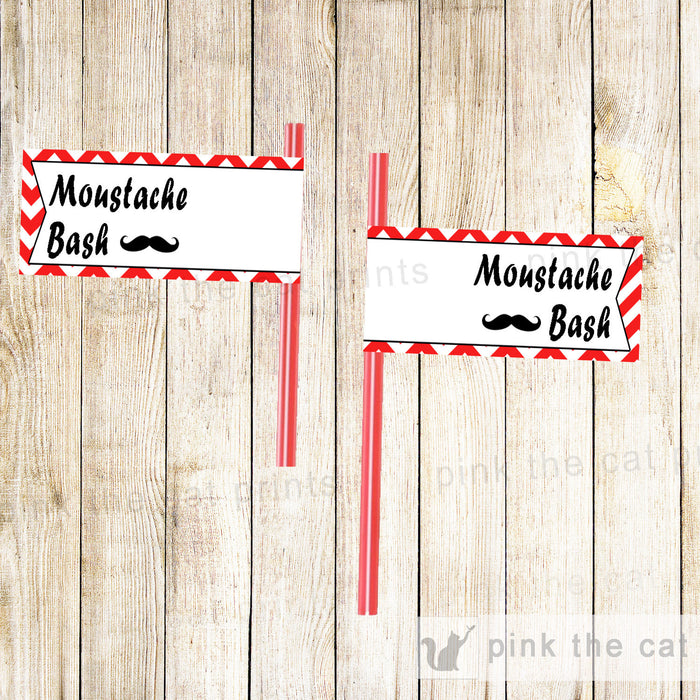 Mustache Bash Straw Flag Label Kids Birthday Baby Shower INSTANT DOWNLOAD