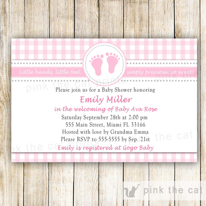 Baby Girl Shower Invitation Pink Gingham INSTANT DOWNLOAD