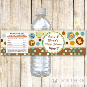 Jungle Bottle Label Baby Boy Shower Brown Animals
