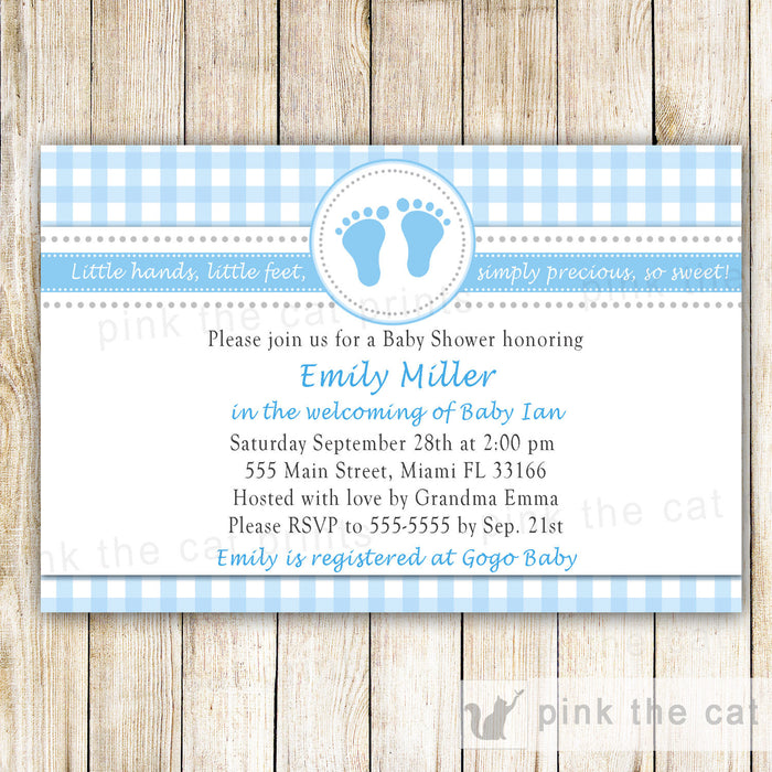 Baby Boy Shower Invitation Blue Gingham