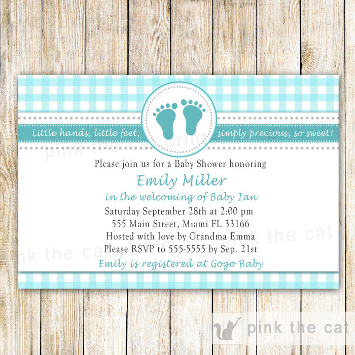 Baby Shower Invitation Teal Gingham Unisex