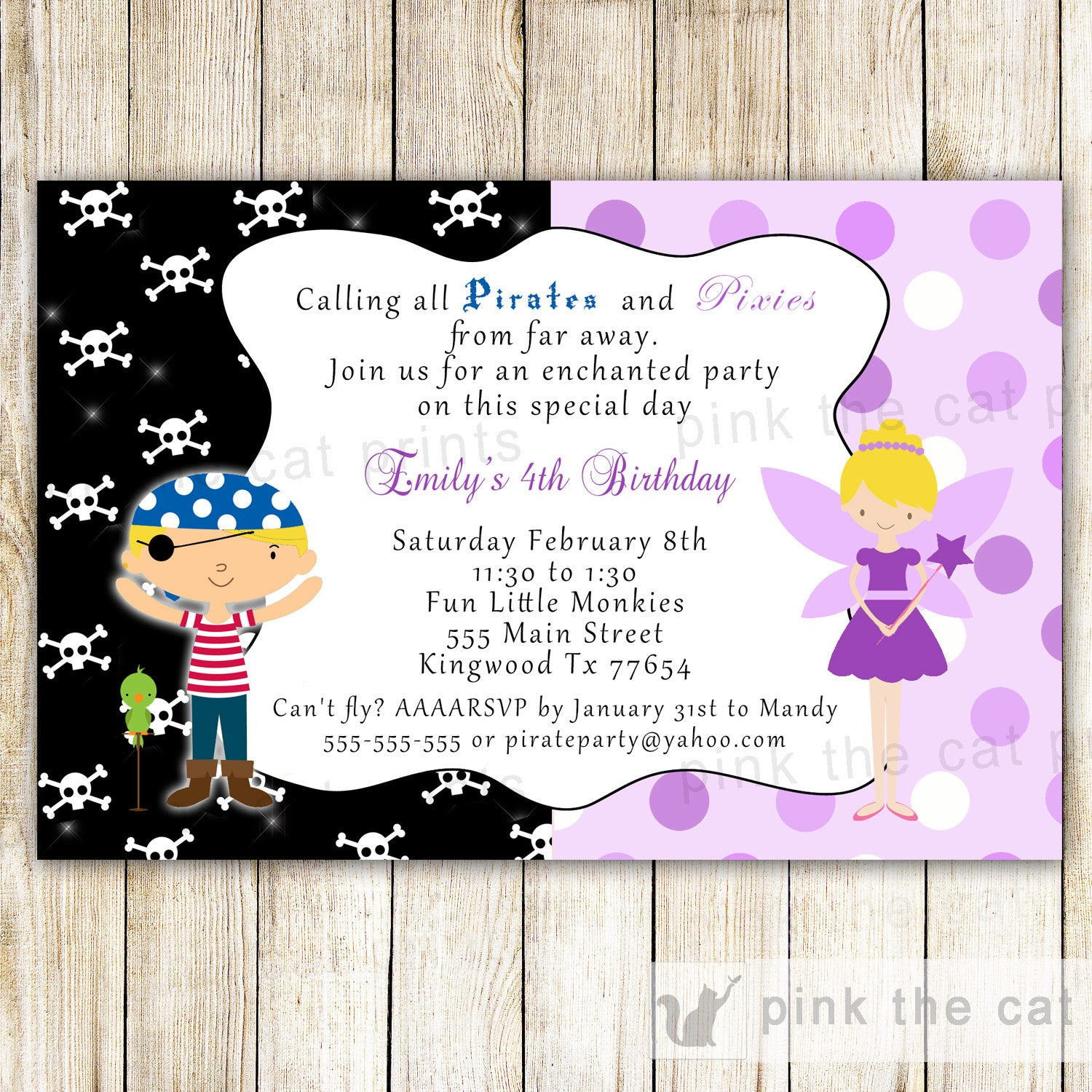 Pirate Fairy Invitation Purple Pixie Kids Birthday Party – Pink The Cat
