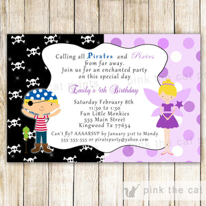 pirate fairy kids birthday party invitation