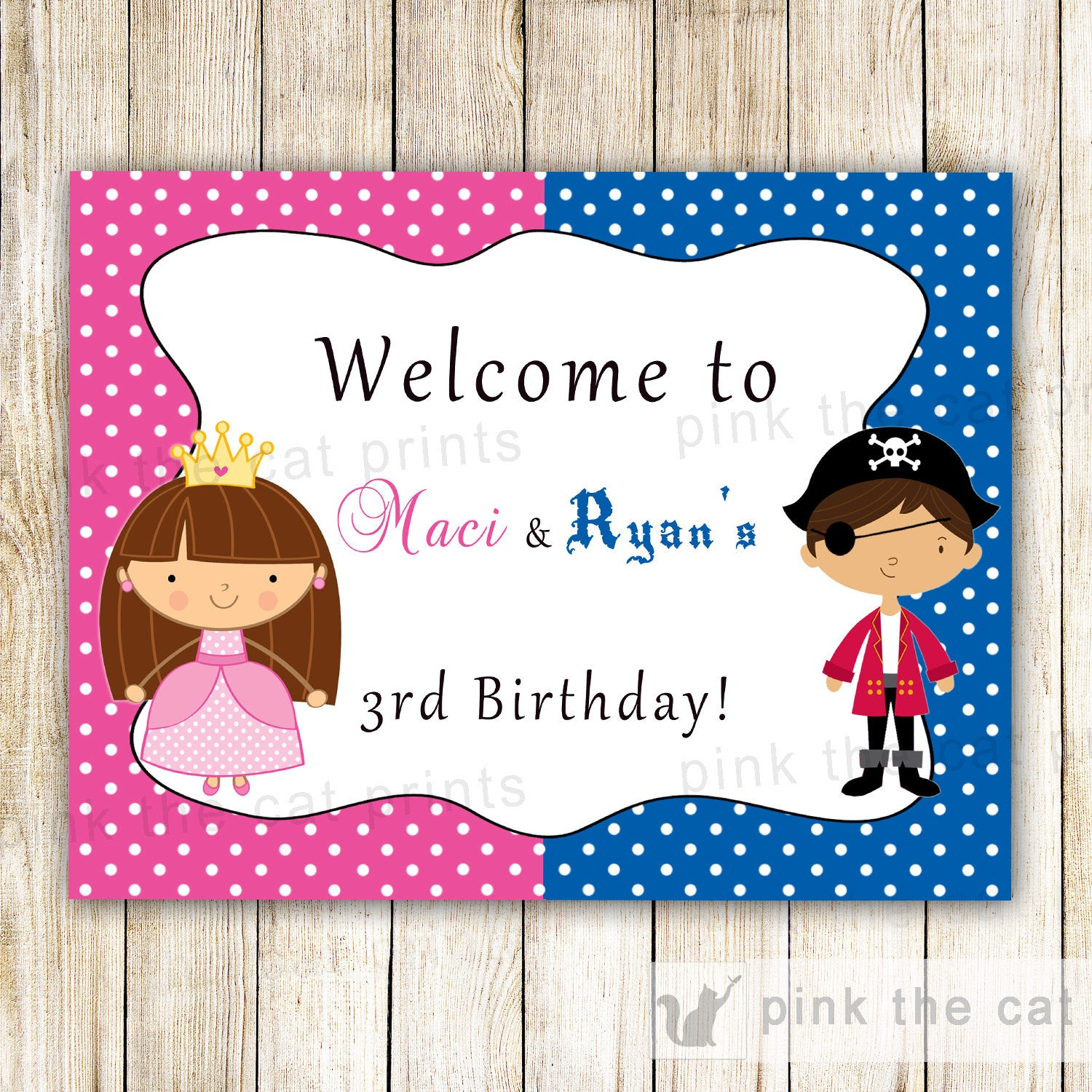 Pirate Princess Welcome Sign Kids Birthday Party – Pink The Cat