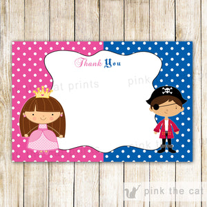 Pirate Princess Blank Thank You Card Note Kids Birthday Party Printable INSTANT DOWNLOAD