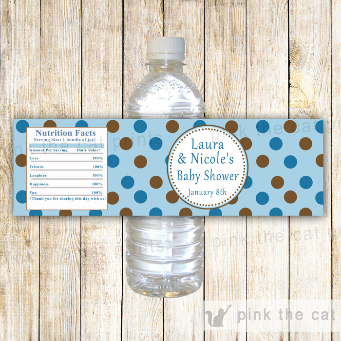 Blue Brown Polka Dots Baby Shower Bottle Label