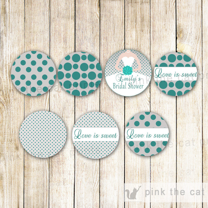 Bridal Shower Small Candy Label Sticker Teal Grey