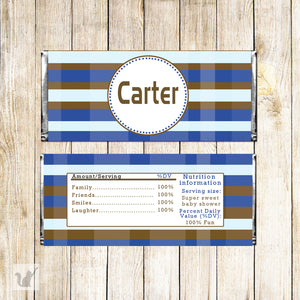 Blue Brown Stripes Candy Bar Wrapper Label Birthday Baby Shower