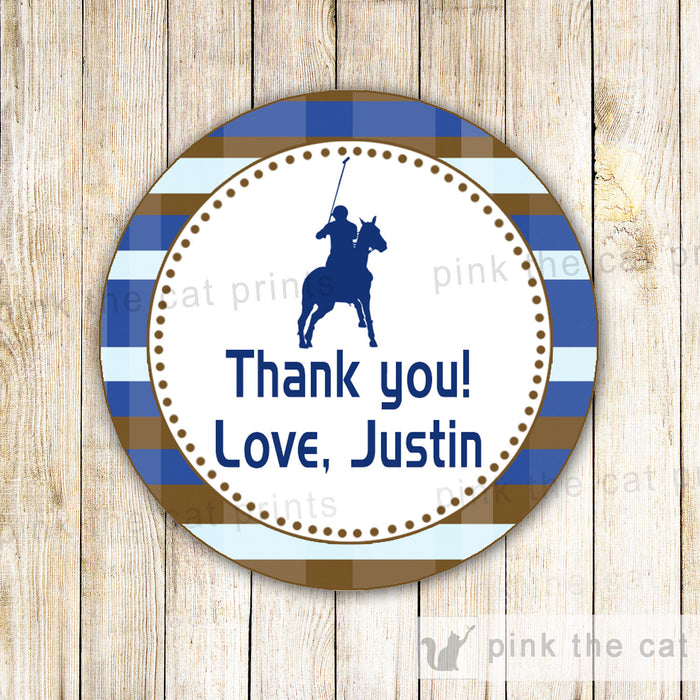 Polo Gift Favor Label Sticker Tag Boy Birthday Baby Shower Blue Brown