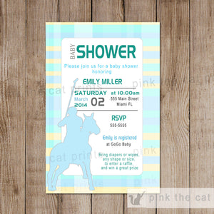 polo baby shower invitation blue yellow unisex
