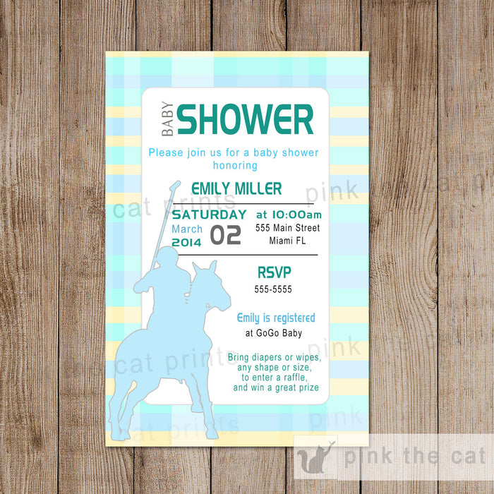 Polo Invitation Baby Shower Unisex Boy Green Yellow
