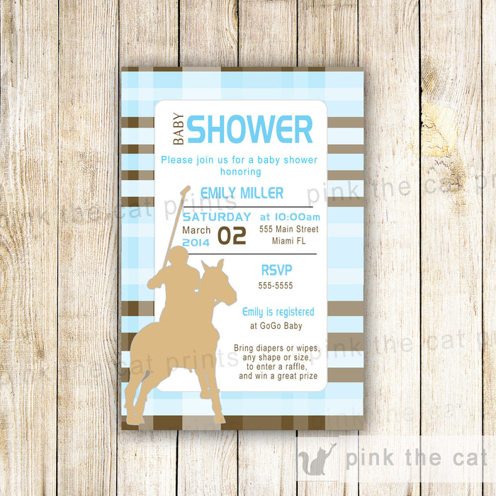 Polo Invitation Baby Boy Shower Birthday Blue Brown