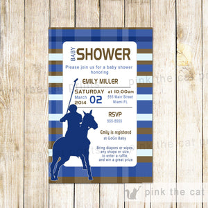 polo baby shower invitation navy blue