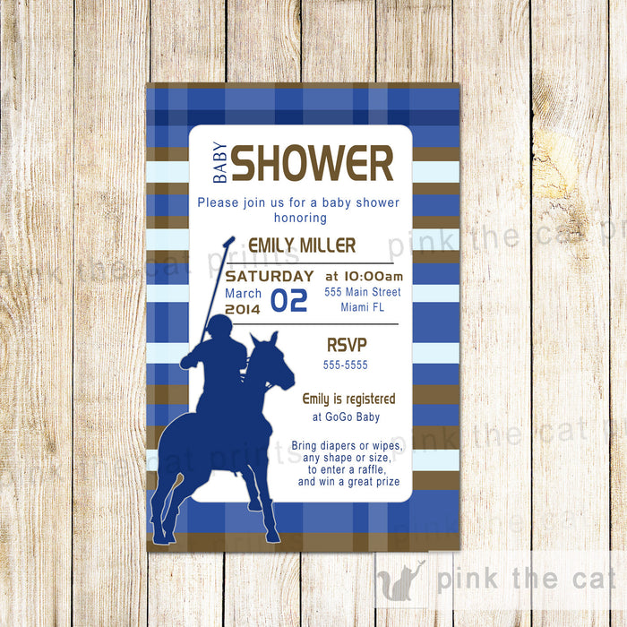 Polo Invitation Baby Boy Shower Birthday Navy Blue