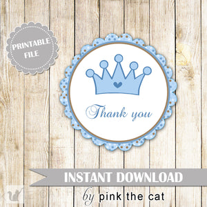 Prince Party Thank You Tag - Blue Brown Polka Dots Round Baby Shower Favors Birthday Party Favors Party Decorations INSTANT DOWNLOAD