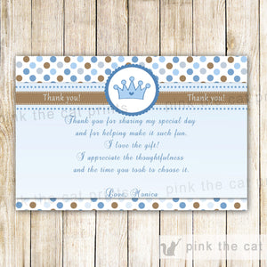 Prince Thank You Card Note Baby Shower Birthday Blue Brown