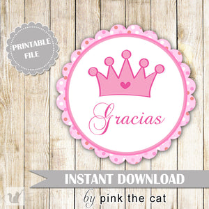 Princess Gift Favor Label or Tag - Pink Polka Dots Round Baby Shower Favors Birthday Party Favors Party Decorations Spanish INSTANT DOWNLOAD