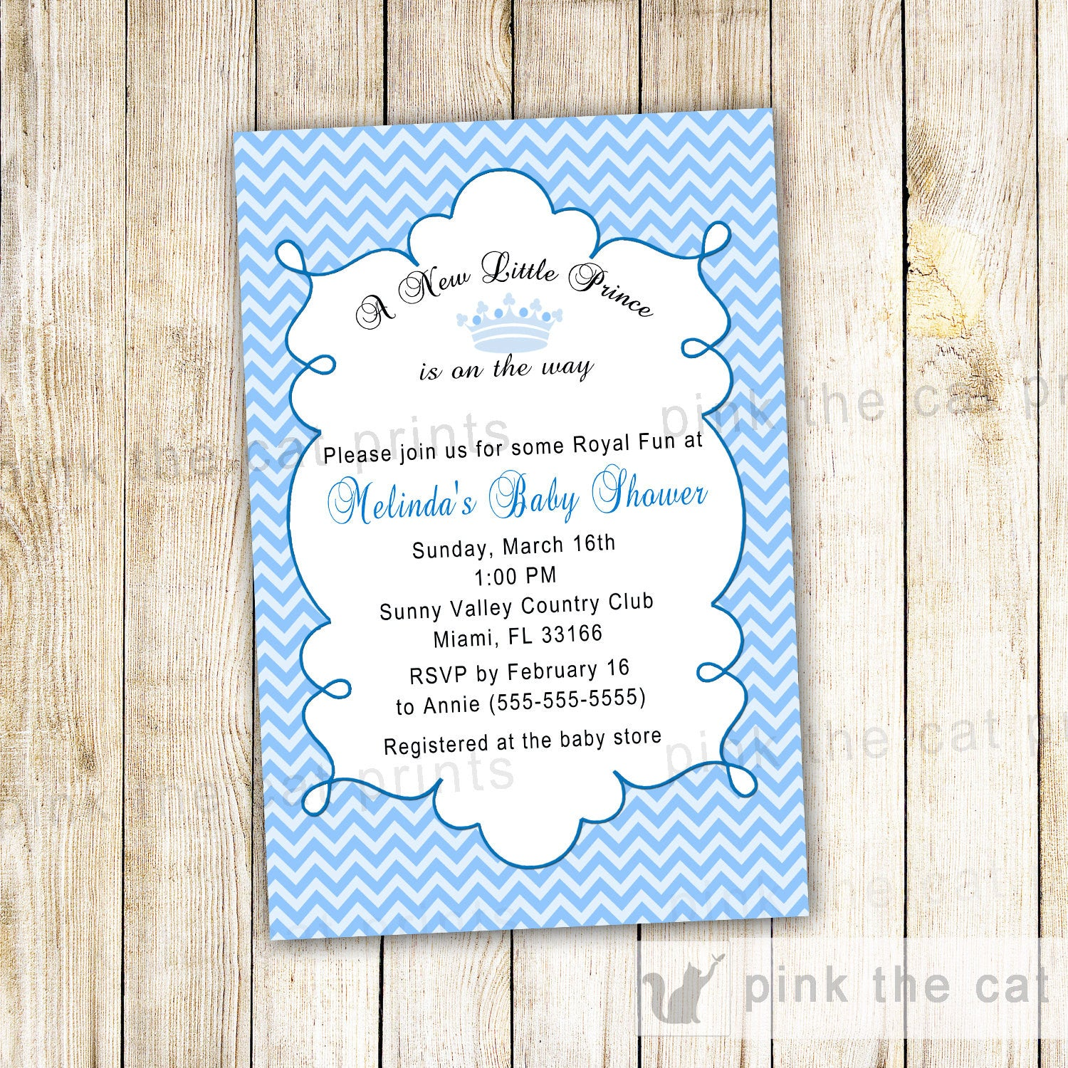 New little prince baby shower invitation boy blue chevron pink the cat new little prince baby shower invitation boy blue chevron prince blue chevron invitation filmwisefo