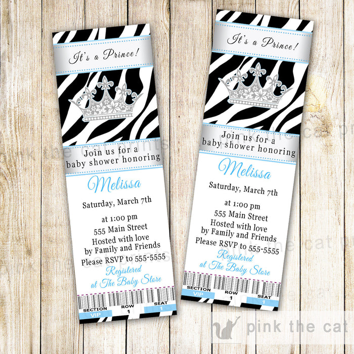Prince Invitation Baby Boy Shower Ticket Zebra Silver Blue