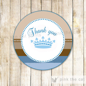 Prince Favor Label Sticker Tag Blue Brown Boy Birthday Baby Shower