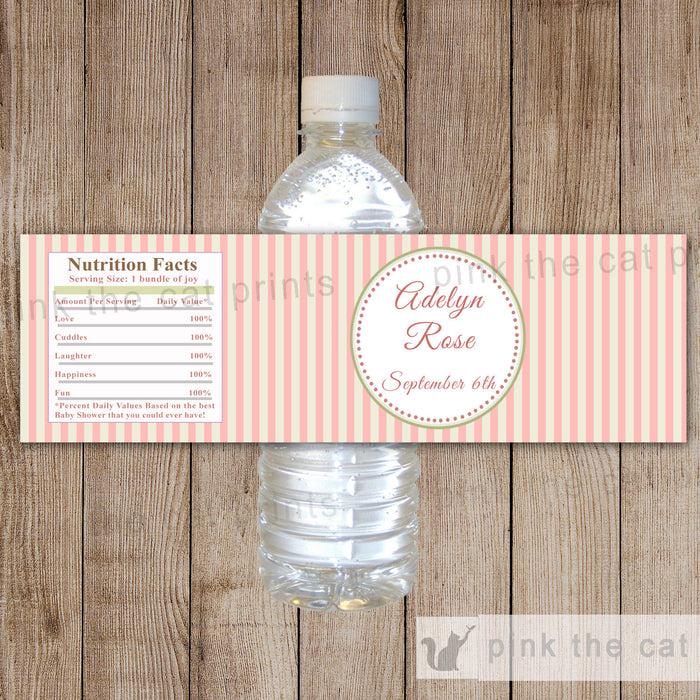 Pink Mint Stripes Bottle Label Birthday Baby Shower