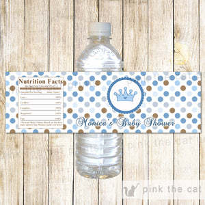 Prince Bottle Label Brown Blue Birthday Baby Shower