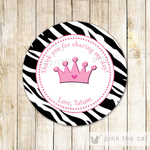 Zebra Princess Favor Label Tag Sticker Birthday Baby Girl Shower