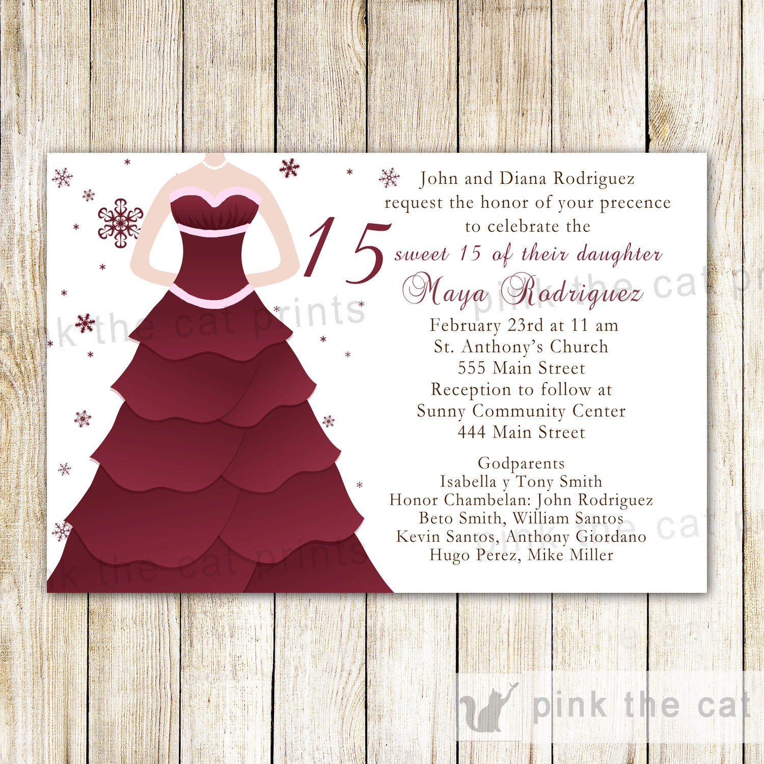 Winter Invitations Quinceanera Sweet 16 Burgundy Dress Pink The Cat