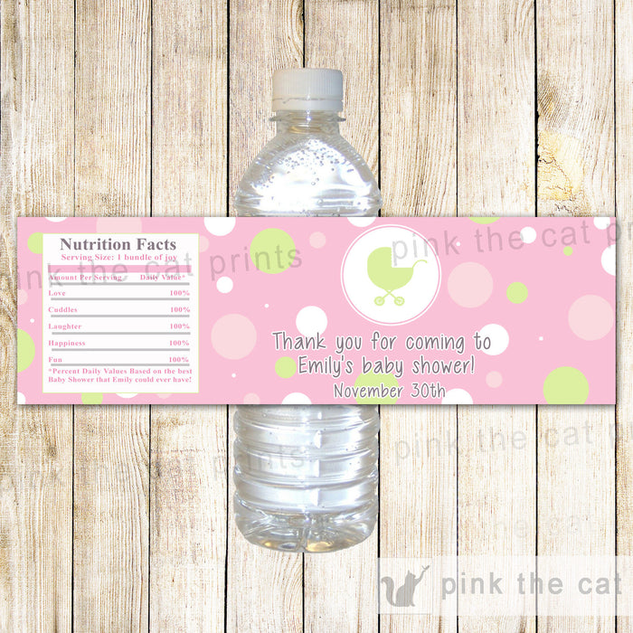 Pink Mint Stroller Bottle Label Baby Shower